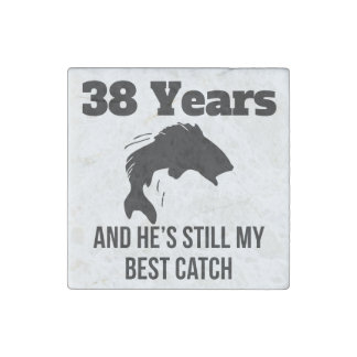 38 Years Best Catch Stone Magnet