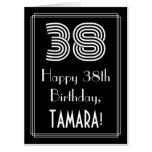 "[ Thumbnail: 38th Birthday — Art Deco Inspired Look ""38"" + Name Card ]"