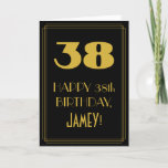 "[ Thumbnail: 38th Birthday ~ Art Deco Inspired Look ""38"" & Name Card ]"