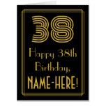 "[ Thumbnail: 38th Birthday: Art Deco Inspired Look ""38"" + Name Card ]"