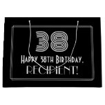 "[ Thumbnail: 38th Birthday — Art Deco Inspired Look ""38"" & Name Gift Bag ]"