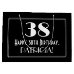 "[ Thumbnail: 38th Birthday: Art Deco Inspired Style ""38"", Name Gift Bag ]"