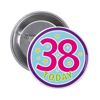 38TH BIRTHDAY BADGE BUTTON