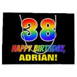 [ Thumbnail: 38th Birthday: Bold, Fun, Simple, Rainbow 38 Gift Bag ]