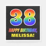[ Thumbnail: 38th Birthday: Bold, Fun, Simple, Rainbow 38 Napkins ]