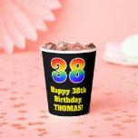 [ Thumbnail: 38th Birthday: Colorful, Fun, Exciting, Rainbow 38 ]