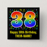[ Thumbnail: 38th Birthday: Colorful Music Symbols, Rainbow 38 Button ]