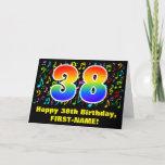 [ Thumbnail: 38th Birthday: Colorful Music Symbols & Rainbow 38 Card ]