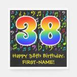[ Thumbnail: 38th Birthday - Colorful Music Symbols, Rainbow 38 Napkins ]