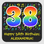 [ Thumbnail: 38th Birthday: Colorful Music Symbols, Rainbow 38 Sticker ]