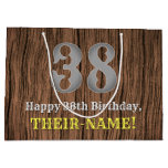 [ Thumbnail: 38th Birthday: Country Western Inspired Look, Name Gift Bag ]