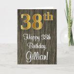 [ Thumbnail: 38th Birthday: Elegant Faux Gold Look #, Faux Wood Card ]