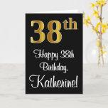 [ Thumbnail: 38th Birthday ~ Elegant Luxurious Faux Gold Look # Card ]