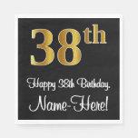 [ Thumbnail: 38th Birthday ~ Elegant Luxurious Faux Gold Look # Napkins ]