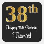 [ Thumbnail: 38th Birthday – Elegant Luxurious Faux Gold Look # Sticker ]