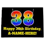 [ Thumbnail: 38th Birthday ~ Fun, Colorful, Vibrant, Rainbow 38 Gift Bag ]