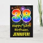 [ Thumbnail: 38th Birthday: Fun Fireworks Pattern + Rainbow 38 Card ]
