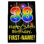 [ Thumbnail: 38th Birthday: Fun Fireworks Pattern + Rainbow 38 Gift Bag ]