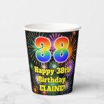 [ Thumbnail: 38th Birthday: Fun Fireworks Pattern + Rainbow 38 ]