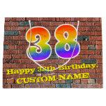 [ Thumbnail: 38th Birthday: Fun, Graffiti-Inspired Rainbow # 38 Gift Bag ]