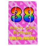 [ Thumbnail: 38th Birthday: Fun Pink Hearts Stripes; Rainbow 38 Gift Bag ]