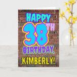 [ Thumbnail: 38th Birthday - Fun, Urban Graffiti Inspired Look Card ]