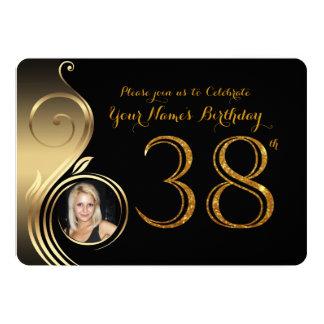 38th,Birthday Invitation,Number Glitter Gold,Photo Card