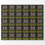"[ Thumbnail: 38th Birthday: Name & Faux Wood Grain Pattern ""38"" Wrapping Paper ]"