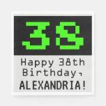 """[ Thumbnail: 38th Birthday - Nerdy / Geeky Style """"38"""" & Name Napkins ]"""