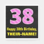"[ Thumbnail: 38th Birthday: Pink Stripes and Hearts ""38"" + Name Napkins ]"