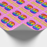 [ Thumbnail: 38th Birthday: Pink Stripes & Hearts, Rainbow # 38 Wrapping Paper ]