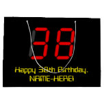 "[ Thumbnail: 38th Birthday: Red Digital Clock Style ""38"" + Name Gift Bag ]"