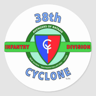 """38TH INFANTRY DIVISION """"CYCLONE"""" CLASSIC ROUND STICKER"""