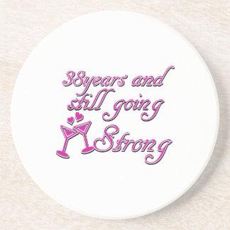 38th wedding anniversary drink coaster