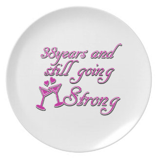 38th wedding anniversary party plates