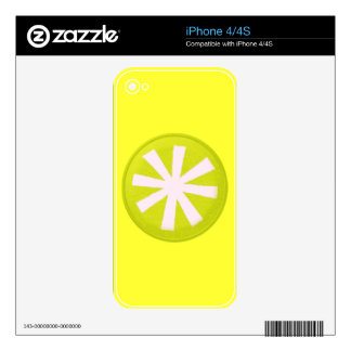 3925 ASTERISK GRAPHIC CIRCLE NEON YELLOW WHITE DECAL FOR iPhone 4S