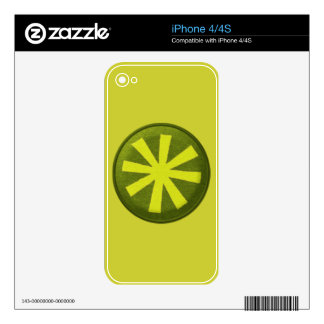 3926 ASTERISK GRAPHIC CIRCLE NEON YELLOW GREEN DECAL FOR THE iPhone 4