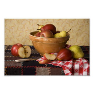 3933 Bowl of Apples & Pears Still Life Poster