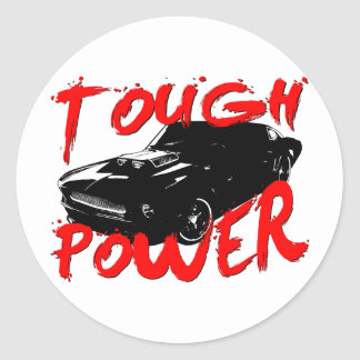 394 Tough Power Mustang Classic Round Sticker
