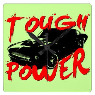 394 Tough Power Mustang Square Wall Clock