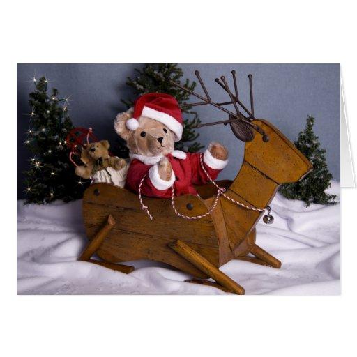 3975 navidad de Santa del oso de peluche Tarjeta De Felicitación
