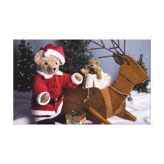 3982 Teddy Bear Santa Christmas Canvas Print