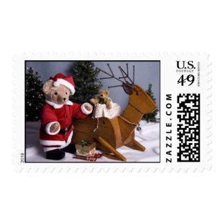 3982 Teddy Bear Santa Christmas Postage Stamps