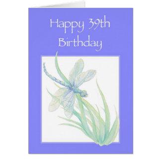 39.a naturaleza feliz de la libélula de la acuarel tarjeta de felicitación