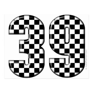 39 auto racing number postcard