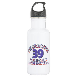 39 birthday design water bottle