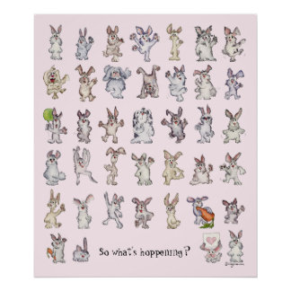39 Cute Cartoon Rabbits Decor Nursery Poster Pink