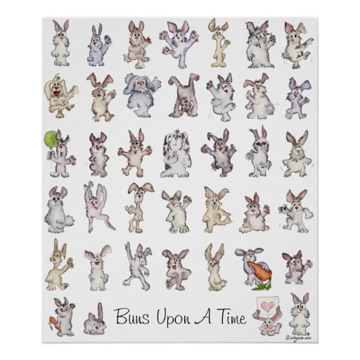 39 Cute Cartoon Rabbits Decor Nursery Poster Print