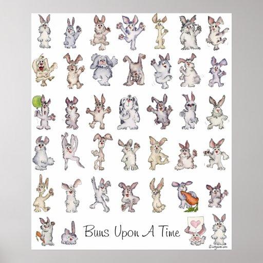 39 Cute Cartoon Rabbits Decor Nursery Poster Print
