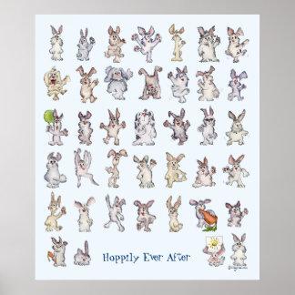 39 Cute Cartoon Rabbits Decor Nursery Wall Art Blu